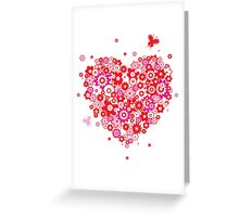 Valentines Heart Made of Flowers and Butterflys Greeting Card