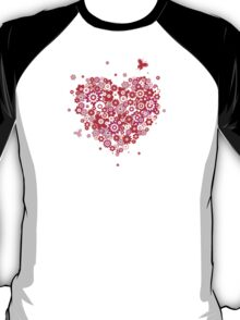 Valentines Heart Made of Flowers and Butterflys T-Shirt
