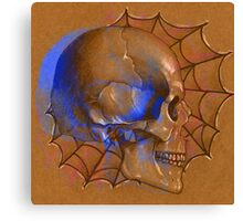 Electric Blue , Traditional Tattoo Skull Design  Canvas Print