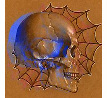 Electric Blue , Traditional Tattoo Skull Design  Photographic Print