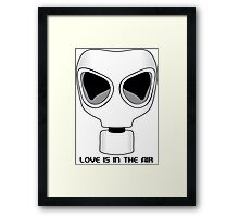 Love Is In The Air, Gas Mask, Anti Valentines Day Framed Print