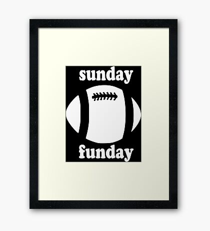 Cute Sunday Funday white design Framed Print