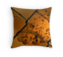 Lone Leaf In a Chain Link Fence Throw Pillow