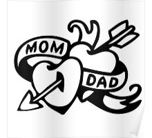 Vintage Tatoo Heart Arrow Banner. Mom and Dad Poster