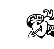 Vintage Tatoo Heart Arrow Banner. Mom and Dad by holidayswaggv