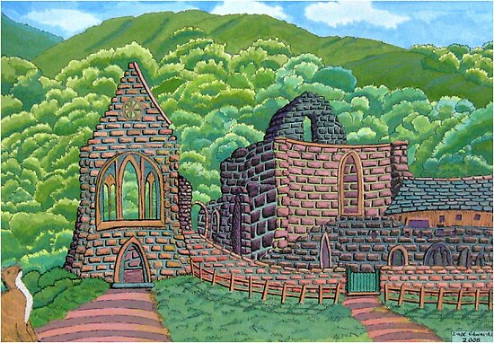 221 - VALLE CRUCIS ABBEY, WALES - DAVE EDWARDS - INK &amp; GOUACHE - 2008 by BLYTHART