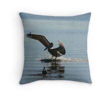 Landing Pelican-River Throw Pillow