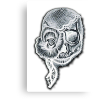White Inverted Skull Canvas Print