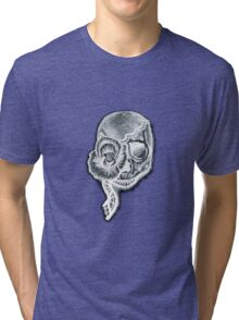 White Inverted Skull Tri-blend T-Shirt