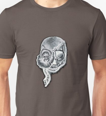 White Inverted Skull Unisex T-Shirt