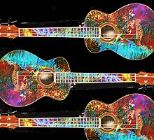 Three Painted Baritone Ukuleles by barrowda