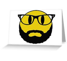 Hipster emoticon with beard and glasses. Greeting Card