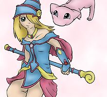 Dark Magician Girl and Mew by thegamingmuse