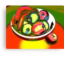 Still LIfe Bananas Apples and one Yellow Passionfruit  Canvas Print