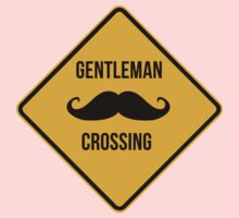 Gentleman crossing. Caution sign. Kids Clothes