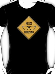 Nerds crossing. Caution sign. T-Shirt