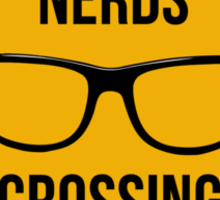 Nerds crossing. Caution sign. Sticker