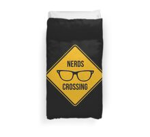 Nerds crossing. Caution sign. Duvet Cover