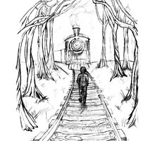 Old Railroad , Black and White boy and train in woods with moon landscape creepy by IrenesGoodies