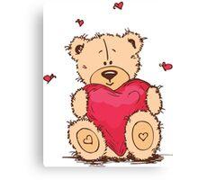 Cute Teddy Bear Valentine Canvas Print