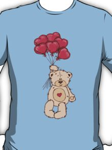 Cute Teddy Bear Valentine With Heart Balloons T-Shirt