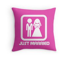 Marriage Series - JUST MARRIED Throw Pillow