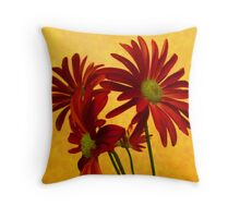 Orange Red and Yellow Flowers in Digitally Enhanced Photograph Throw Pillow