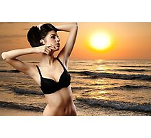 Lady at sunrise near the ocean Photographic Print