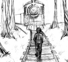 Old Railroad , Black and White boy and train in woods with moon landscape creepy Sticker