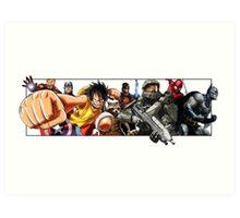 Hero Compilation - Halo, One Piece, Marvel... Art Print