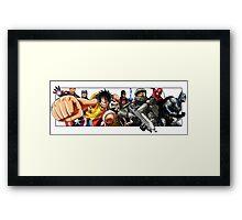 Hero Compilation - Halo, One Piece, Marvel... Framed Print