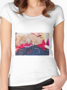 old doll fabric Women's Fitted Scoop T-Shirt