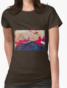 old doll fabric Womens Fitted T-Shirt
