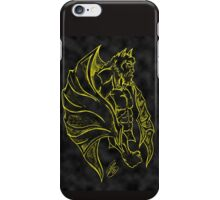 Yellow and Black Gargoyle Drawing iPhone Case/Skin