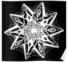 Star Tangles 1 White - An Aussie Tangle  by Heather Holland - See Product Notes for Colour Options Poster