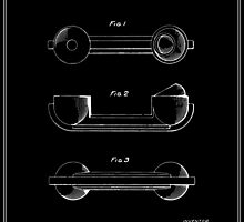 Telephone Handset Patent - Black by FinlayMcNevin