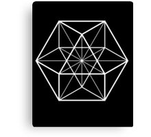 White on Black cube-octahedron  Canvas Print