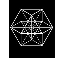 White on Black cube-octahedron  Photographic Print