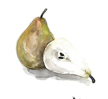 Pear fruit art print watercolor painting by Joanna Szmerdt