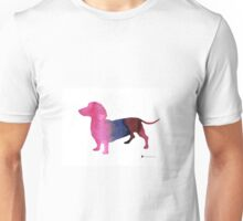 Dachshund silhouettes painting watercolor art print  Unisex T-Shirt