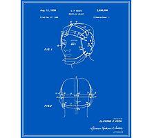 Wrestling Helmet Patent - Blueprint Photographic Print