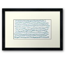 A Song of ice and fire quotes Framed Print