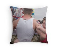 Father and Twins Watching Nathan's Hotdog Eating Contest Throw Pillow