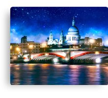 London Skyline By Night - St Pauls Cathedral Canvas Print