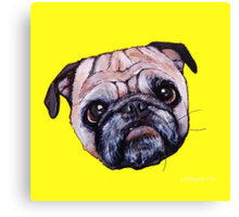 Butch the Pug - Yellow Canvas Print