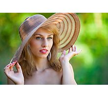 Beautiful blonde with hat outdoors Photographic Print