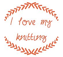 I love my knitting, red Photographic Print