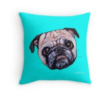 Butch the Pug - Cyan Throw Pillow