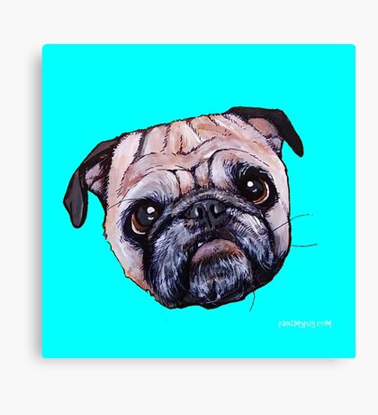 Butch the Pug - Cyan Canvas Print