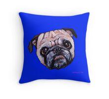Butch the Pug - Blue Throw Pillow